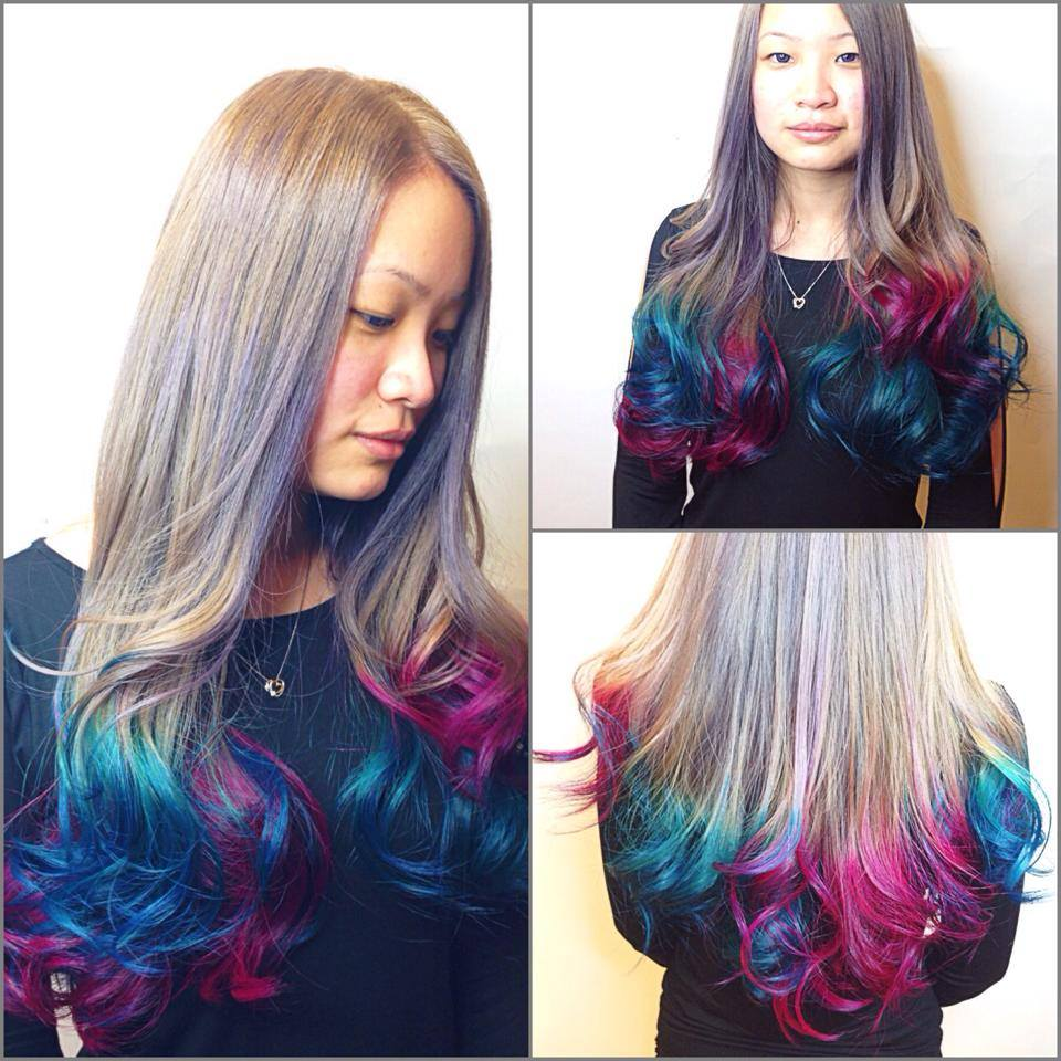 Ash Blonde With Turquoise Blue And Rose Pink Sio