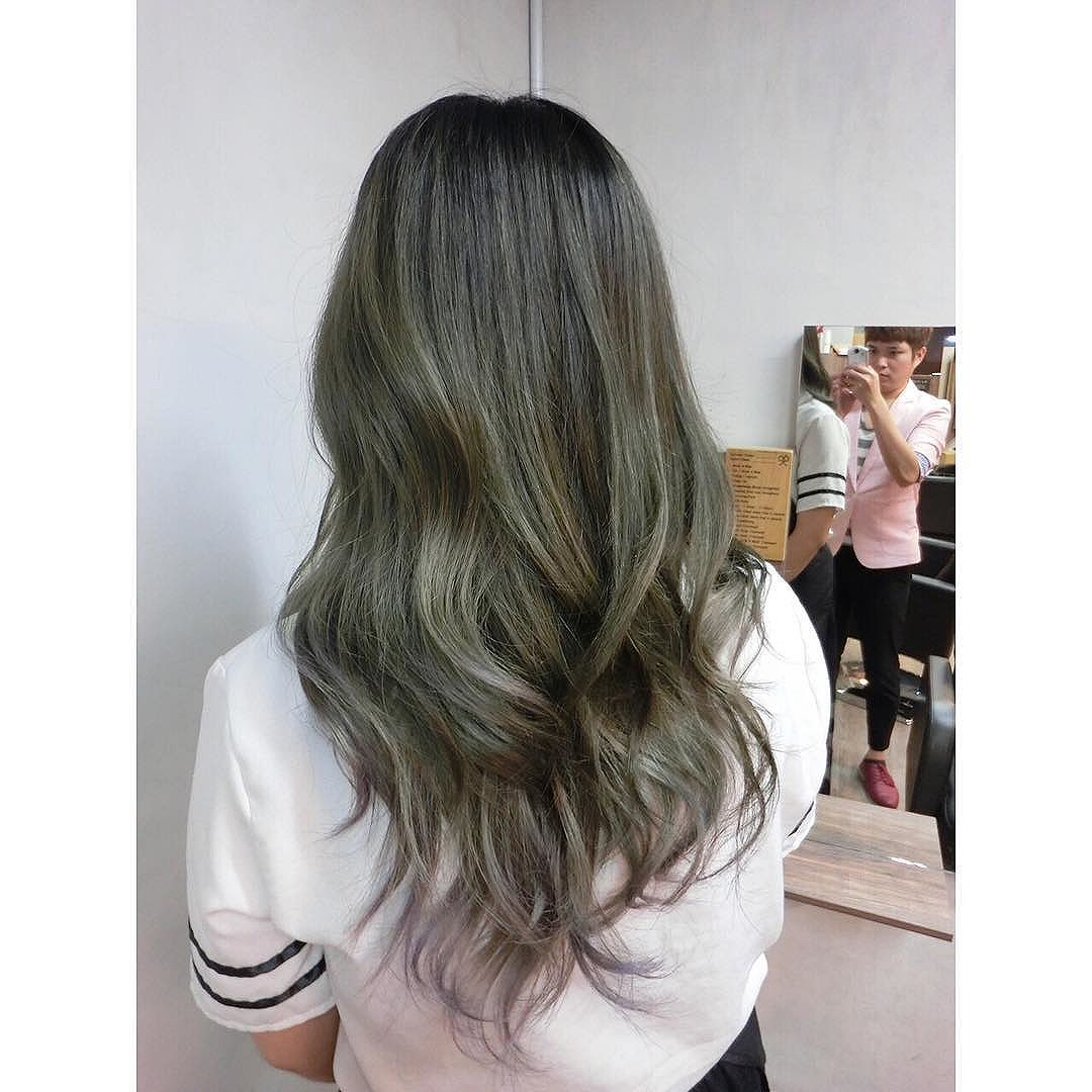 Ash Green Balayage Ombre
