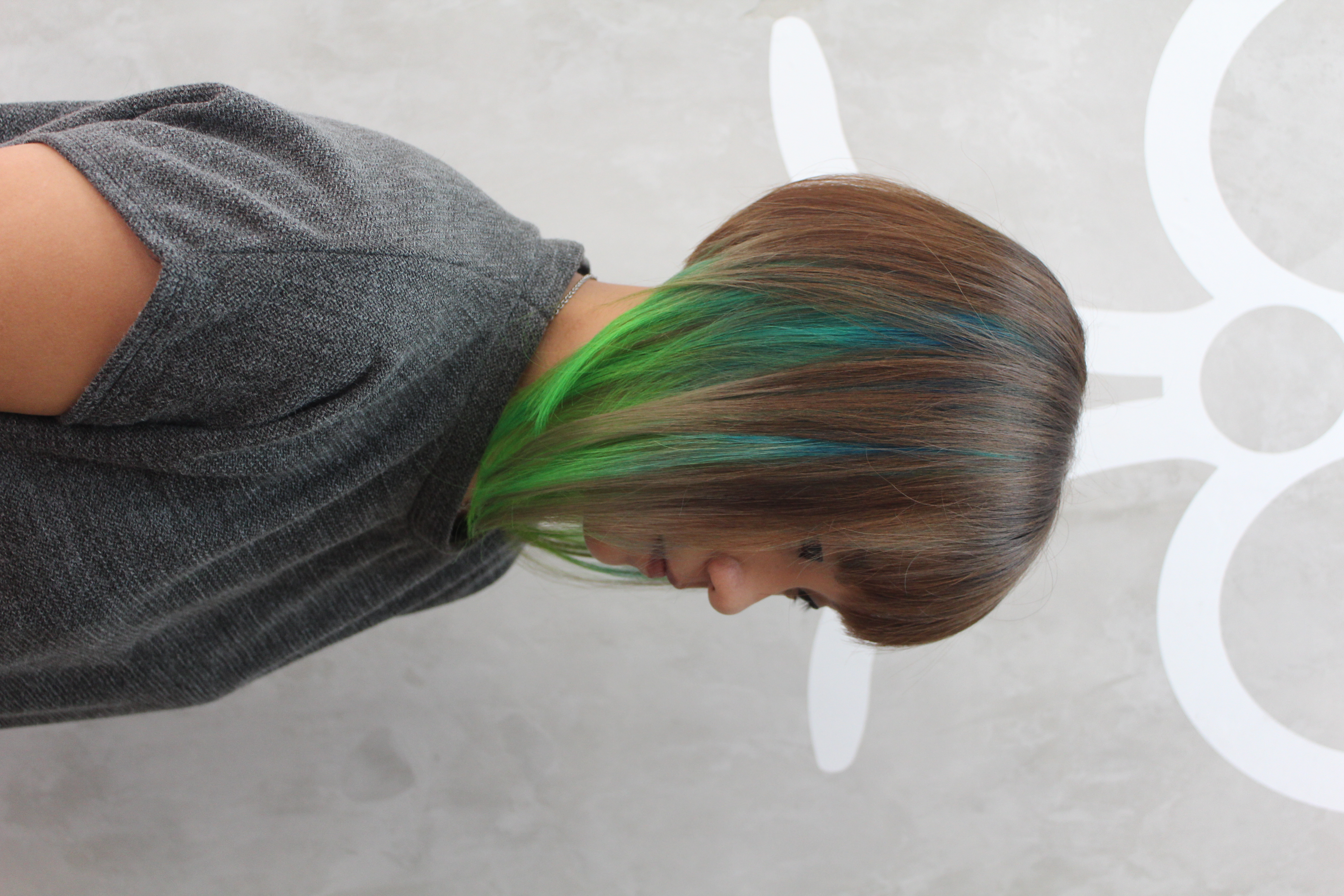 Brown Hair With Blue And Green Highlights