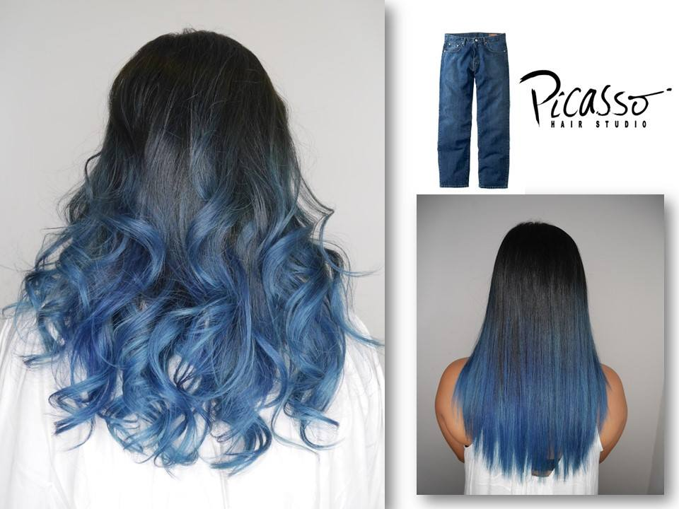 Blue ombre hair color 2017