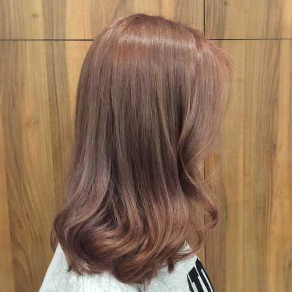 Ash Brown Pink Hair Style NA Korean Hair S...